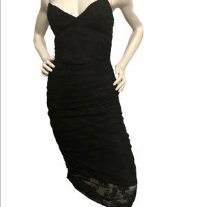 Betsy Johnson Black Lace Ruched Evening Dress